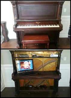 Piano Turned Desk Old Pianos, Music Instruments, Desk, Craft, Desktop, Creative Crafts, Musical Instruments, Table Desk, Crafting