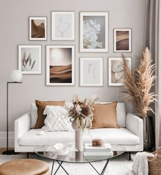 Picture wall with natural posters in earth tones - inspiration picture wall - poster store . - Picture wall with natural posters in earth tones – inspiration picture wall – Posterstore.de Be - Decor Room, Living Room Decor, Living Room Gallery Wall, Living Room Pictures, Picture Wall Living Room, Wall Decor With Pictures, Living Room Warm Colors, Gallery Wall Art, Green Living Rooms