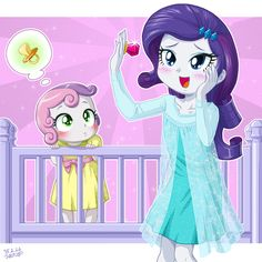 It's just like a gem! by uotapo.deviantart.com on @DeviantArt Rarity's got Elsa PJs! And Sweetie is adorable <3