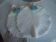 Shabby-Chic / Vintage Topflappen rund mit Rose von manufatto auf DaWanda.com