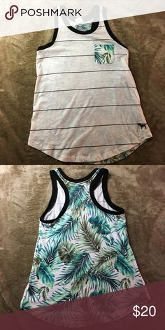 PINK floral tank White and black striped muscle tank with palm tree back - limited edition PINK Victoria's Secret Tops Muscle Tees