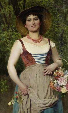 Эжен фон Блаас (Eugene von Blaas), 1843-1931. Италия. Цветочница