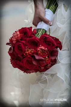 All red bouquet from the Super Mario Inspired wedding in St. Pete Nova 535. Florals designed by MOI! See more, www.royaleventsservices.com