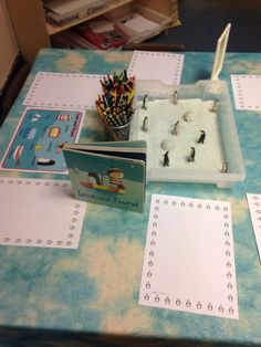 EYFS writing area based on our winter topic and Lost and Found story.