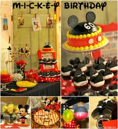 Mickey Mouse Birthday Party. I want my next party to be black, red and white. :) modern, and grown up micky party