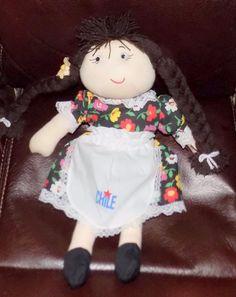 "12"" CLOTH STUFFED Rag Doll Braids Flower Dress CHILE Apron  #Unbranded"