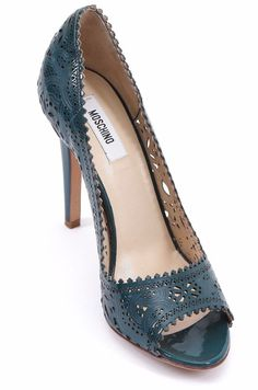 2a0c1c49a60 MOSCHINO Pump Patent Leather Teal Peep Toe Lace Shoe Heel 39.5  Moschino   Classics