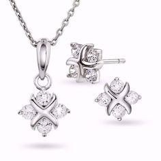 Smykkesett i sølv med zirkonia