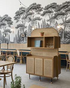 When The Art Deco Trend Meets Provence Restaurant Furniture, Restaurant Interior Design, Cafe Interior, Art Deco Furniture, Furniture Design, Cafe Furniture, Cheap Furniture, Studio House, Tropical Wall Decor