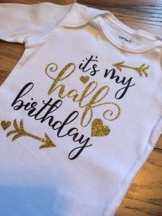 Baby Onesie Half Birthday Onesie 1/2 Birthday by KidzKlothezline
