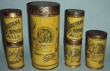 LOT OF 6 A&P SULTANS SPICE MILLS TINS COMPLETE WITH LIDS NEAR MINT CONDITION