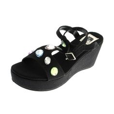 A Line Womens Canvas Jeweled Wedges