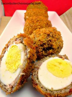 Scotch Eggs or Picnic Eggs are boiled eggs that are wrapped in sausage, breaded and then deep fried!  Darn Tasty!