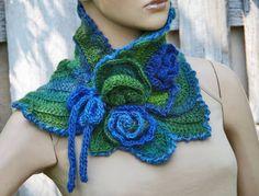 Crochet Scarf Capelet /Blue/ green Flower/ Neck Warmer by Crochet Flower Scarf, Knitted Flowers, Freeform Crochet, Knit Or Crochet, Crochet Scarves, Irish Crochet, Crochet Shawl, Crochet Crafts, Crochet Clothes