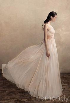 light pink scoop A line chiffon wedding by Lemandyweddingdress, $218.00