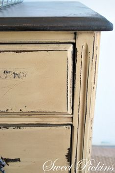 DIY:  Painted, Distressed and Glazed Dresser Tutorial - this was painted ivory and distressed - the glaze gave it this awesome color. All colors are listed - via Sweet Pickins Furniture