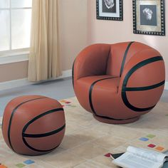 Kids Sports Chairs Youth Chair and Ottoman by Coaster