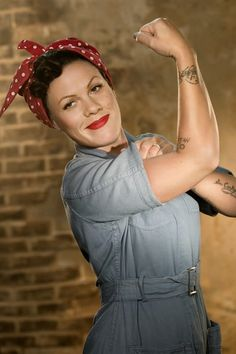 "P!nk, ""Raise Your Glass"" Music Video - as Rosie the Riveter. Do you need another reason to love her like I do? :)"