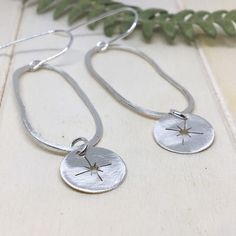 Abstract Silver Earrings - Star Charm - Long Dangle Earrings- Spring/Summer jewellery Sterling Silver Hoops, Sterling Silver Necklaces, Silver Earrings, Dangle Earrings, Leaf Necklace, Summer Jewelry, Jewelry Collection, Unique Jewelry, Etsy