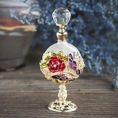 Vintage-Rose-Jeweled-Crystal-Empty-Perfume-Bottle-Refillable-Mother-039-s-Day-Decor