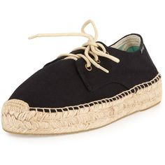 Women's Platform Lace-Up Espadrille Derby Flat, Black - Soludos (215.850 COP) ❤ liked on Polyvore featuring shoes, lace up espadrilles, lace up flat shoes, black laced shoes, black lace up espadrilles and black platform shoes