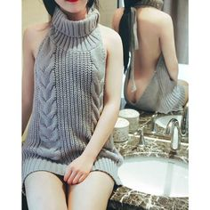 Sexy Sleeveless Tie Open Back Backless Sweater Anime Cosplay Reversible Long Turtleneck Vest 2017 Hot Japan Virgin Killer Cheap Cardigans, Cardigan Sweaters For Women, Cute Sweaters, Long Sweaters, Cardigans For Women, Pullover Sweaters, Sleeveless Sweaters, Virgin Killer Sweater, Backless Sweater