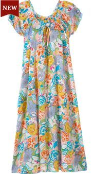 Bold floral cotton nightgown with peasant-top neck helps keep you cool during warmer weather. Find absolute comfort in this wispy cotton nightdress. Frocks And Gowns, Frock Patterns, Night Dress For Women, Nightgowns For Women, Dressed To The Nines, House Dress, African Fashion Dresses, Sleepwear Women, Maternity Dresses