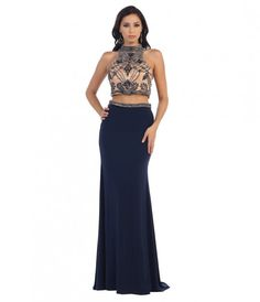 Navy Blue Fitted High Neck Two Piece Long Dress 2016 Prom Dresses