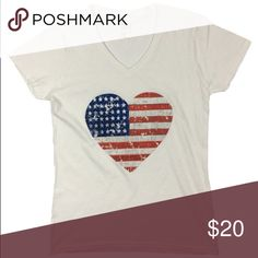 America Heart - Woman's V-Neck T-Shirt BRAND NEW 100% cotton woman's v-neck t-shirt. These shirts are brand new and are available in S, M, L, XL. Tops Tees - Short Sleeve