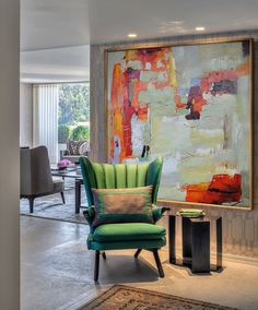 Hand Made Large Acrylic Painting On Canvas di CelineZiangArt
