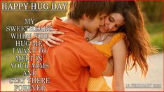 Hug Day celebrated on 12 February year on this day couple hug each other this day is not only for lovers but friends also celebrated this day. Hug Day Images, Happy Hug Day, L Miss You, Tight Hug, Wife Jokes, Buddha Face, You Are Special, Hug Me, More Than Words
