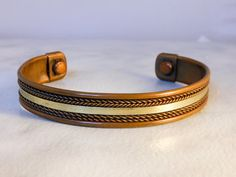 Vintage Copper Cuff Bracelet    Silver tone and copper   Size 2 By  2 3/4  Fits Small-medium  Wrist by GemstoneCowboy on Etsy