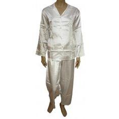 Marlon White Long Sleeved Satin Pyjamas. Size 14-16