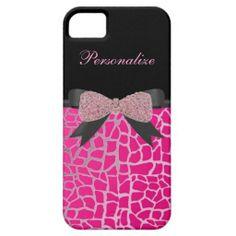 #Elegant #Monogram, #Pink #Diamond #Bow, Pink #Giraffe Print #iPhone 5 #Case by #Godsblossom #electronics #gadgets #cases #covers #smartphones #iPad #iPod