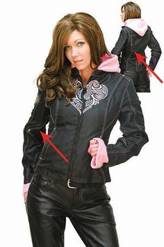Pink Heart Motorcycle Jacket with Removable Hoodie. jaminleather.com