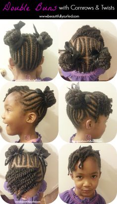 Beautifully Curled: Double Buns With Cornrows and Twists on Natural Hair Kid Braid Styles, Kid Styles, Kids Hairstyle, Lil Girl Hairstyles, Natural Hairstyles For Kids, American Hairstyles, Hairstyle Ideas, Braided Hairstyles, Locs