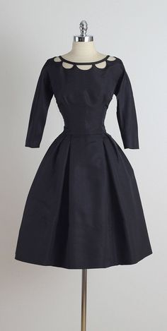 Nathan Strong ➳ vintage 1950s dress * black silk faille * open cut neckline * metal back zipper * by Nathon Strong condition | excellent fits like medium