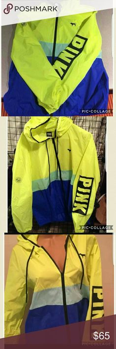 Victoria Secret neon anorak size small/medium Only worn a few times. Perfect condition Victoria's Secret Jackets & Coats