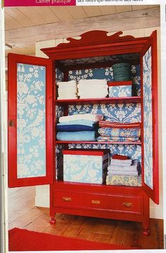 With a little paint and creativity, old furniture pieces can be reborn as one-of-a-kind statement pieces in your home! We love how this armoire has been repurposed into a bold linen closet! Furniture Projects, Furniture Makeover, Diy Furniture, Diy Projects, Red Painted Furniture, Furniture Vintage, Painting Furniture, Furniture Stores, Bedroom Furniture