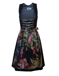 """- Unique leather and poplin dirndl Pleated skirt length is 26"""" from the waist - Traditional square neckline bodice with genuine leather detailing at the front and back yoke - Chain lace up bodice - Co"""