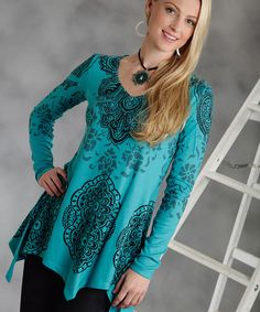 Take a look at this Blue Floral Handkerchief Top - Women by Roper on #zulily today!