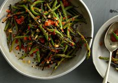 Charred Green Beans with Harissa and Almonds Recipe