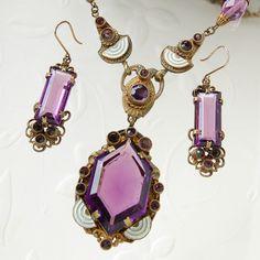 Vtg Art Deco Czech Amethyst Glass Pendant Necklace Earrings Ornate Filigree Set | eBay