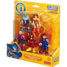 Imaginext DC Super Friends Heroes & Villains Pack with Brainiac Lex Luthor Superman Flash Wonder Wo