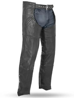 FMC Nomad Deep Thigh Pocket Biker Style Mens Leather Motorcycle Chaps made of soft milled cowhide leather with built in heavy duty mesh liner, leg zippers for easy on or off, trimmable length, and 17 inch deep slash pocket style for bikers and motorcycle riders.
