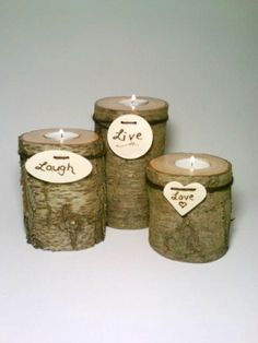Rustic Wedding Centerpiece Log Candle Holder by DeerwoodCreekGifts, $25.00