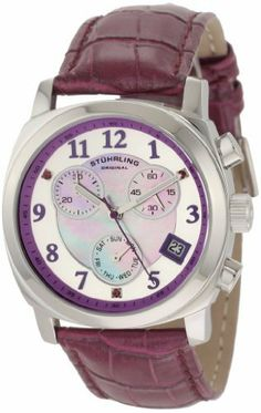 Stuhrling Original Women's 246.1115Q78 Vogue Audrey Fiorenza Swiss Quartz Chronograph Swarovski Crystal Mother-Of-Pearl Day and Date Purple Watch Stuhrling Original. $112.00. Stainless steel outer dial with purple chapter ring and purple Swarovski crystals applies at the 2,6 and 10 positions. Water-resistant to 330 feet (100 M). Purple alligator embossed genuine leather strap with stainless steel clasp. Stainless steel round case with protective Krysterna crystal. Purple Mo...