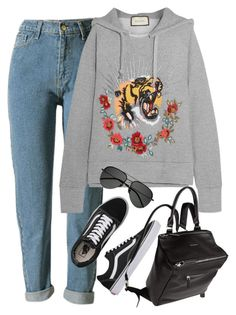 """Sem título #1445"" by oh-its-anna ❤ liked on Polyvore featuring WithChic, Vans, Gucci, Givenchy and Yves Saint Laurent"