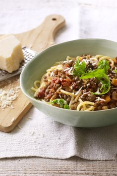 Swap beef mince for delicious Puy lentils in this easy pasta sauce. Lentil Recipes, Veggie Recipes, Healthy Dinner Recipes, Vegetarian Recipes, Cooking Recipes, Bbc Recipes, Healthy Dinners, Easy Recipes, Healthy Food