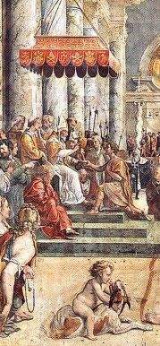 THE DONATION WAS A DECEPTION AND SO IS INVENTIO CRUCIS. The Donation of Constantine (Latin, Donatio Constantini) is a forged Roman imperial decree by which the emperor Constantine I supposedly transferred authority over Rome and the western part of the Roman Empire including Jerusalem, to the Pope. Painting by Raphael, The Donation of Constantine. Stanze di Raffaello, Vatican City